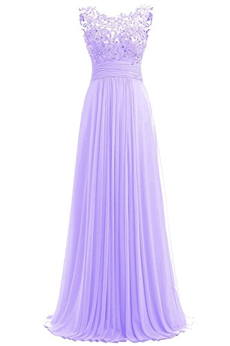 PROMLINK Women's Beaded Chiffon Long Dresses for Gown Wedding Guest Lilac