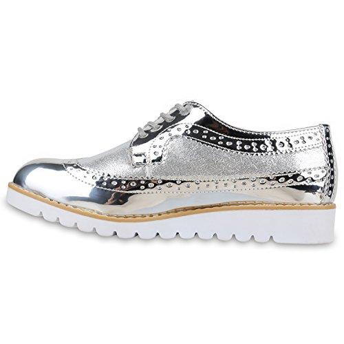 Stiefelparadies - Zapatos de cordones de sintético, tela para mujer plata