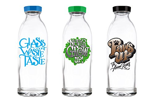 Faucet Face Gift Pack - 3 Limited Edition Reusable Glass Water Bottles, 14.4 Oz.