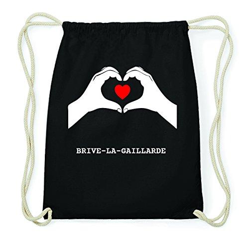 JOllify BRIVE-LA-GAILLARDE Hipster Turnbeutel Tasche Rucksack aus Baumwolle - Farbe: schwarz Design: Hände Herz
