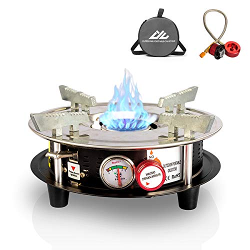 Drhob Portable Cooking Gas Stove Burner 10,000 BTU Dual Fuel Propane or Butane Patio Backpacking Stove with Propane Regulator Hose & Storage Bag for Outdoor, Hiking,Camping,Home Brewing Equipment ()
