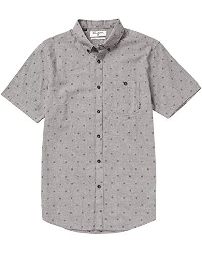 (Billabong Men's All Day Short Sleeve Woven Shirts, Pewter Heather, L)