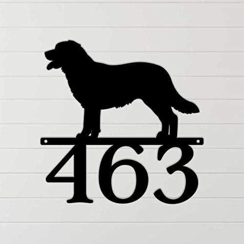 Ced454sy Labrador Retriever Dog Metal Se/ñal de direcci/ón n/úmero de direcci/ón de metal cortado con l/áser