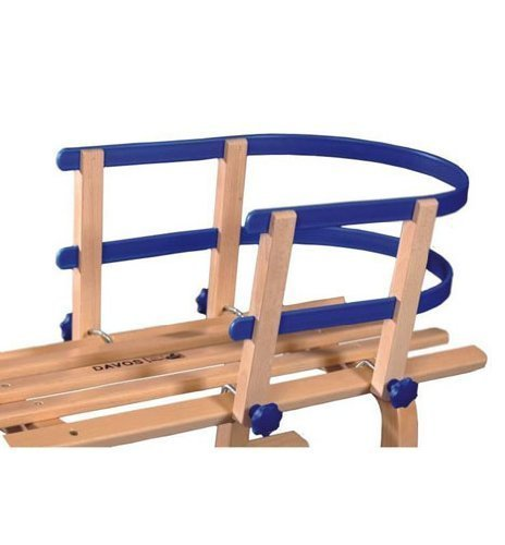 Holzrodel, Rodel, Rodelschlitten, Schlitten DAVOS 90 cm mit Kunststoff-Lehne blau