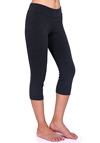 Daisity Women's Capri Legging - Gym Activewear Slim Spandex Tights - S - XL Color Grey Size L