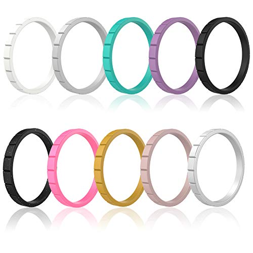 IBBM I WILL BE YOUR BEST MEMORY Silicone Wedding Ring Women - Thin Stackable Rubber Wedding Bands - Step Pattern Colorful Ring Set - 10 Pack - 3 MM Wide