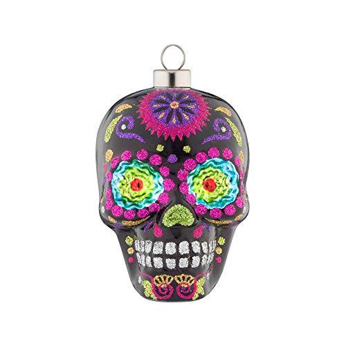 kat + annie Ornament Dia de Los Muertos Skull, Black, Pink, Green, Purple