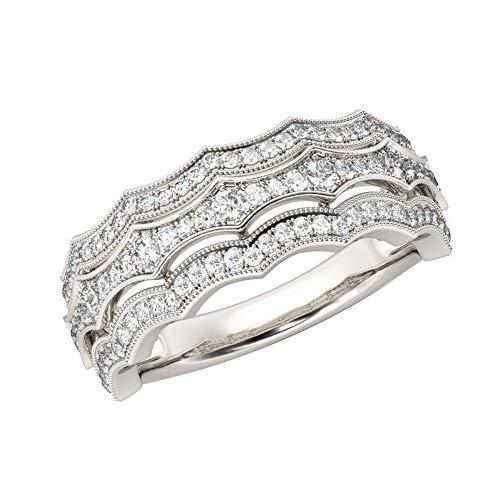 (14k White Gold Finish 0.75 Ct Round Cut Simulated Diamond Milgrain Wedding Band Ring 9.5)