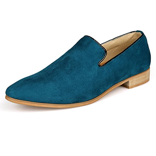 Sun Lorence Men Fashion Suede Leather Shoes Heeled Suede Oxford Slip-on Loafers Green LK7D1T3c