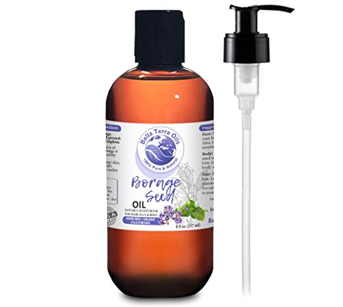 NEW Borage Seed Oil. 8oz. Cold-pressed. Unrefined. Organic. 100% Pure. PA-free. Hexane-free. GLA Oil. Natural Moisturizer. For Hair, Face, Body, Nails, Stretch Marks.