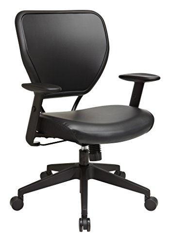 SPACE Seating Vinyl Over AirGrid Back and Padded Black Vinyl Seat, 2-to-1 Synchro Tilt Control, Adjustable Arms and Tilt Tension with Nylon Base Managers Chair (Tilt Control Tension)