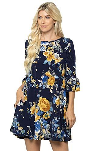 (Ruffle Layered Sleeve A-line Tunic Dress Pocket Animal Floral Regular Plus Size (3X-Large, 3778CLAA-NAVY))