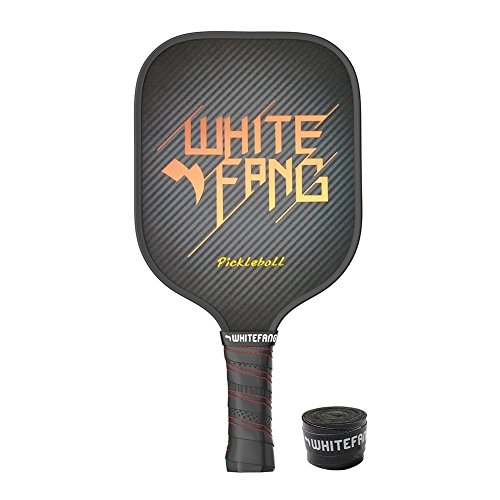 WhiteFang Pickleball Paddle - Graphite Pickleball Racket with Composite Honeycomb Core, 8oz Pickleball Rackets with Free Grip Strip (Black)