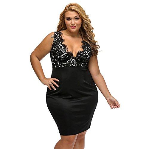 RwalkinZ Women's Lace Crochet Sleeveless Deep V-Neck Plus Size Black Dress 2XL (Sexy Plus Dress)