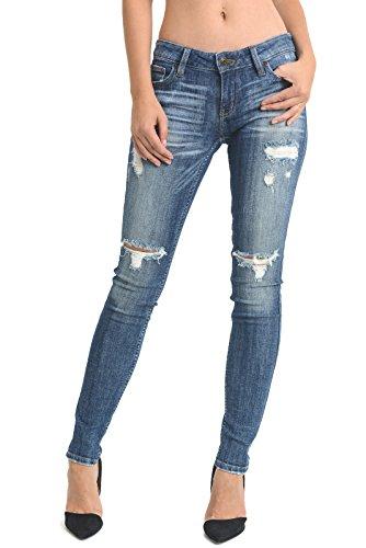 's Low Rise Distressed Skinny Denim Jeans (J02221 3, Medium Denim) ()
