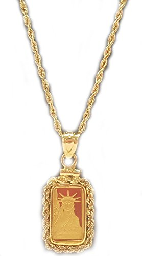 14K Gold 1 Gram Credit Suisse Rope Coin Bezel Pendant With 16  2Mm 14K Gold Diamond Cut Rope Chain