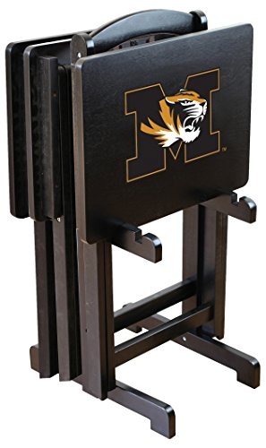 Imperial Officially Licensed NCAA Merchandise: Foldable Wood TV Tray Table Set with Stand, Missouri Tigers (Tigers Tv Table)