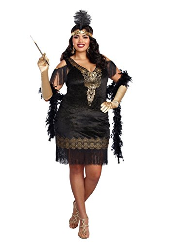 Dreamgirl Women's Plus Size Swanky Flapper, Black/Gold, 2X