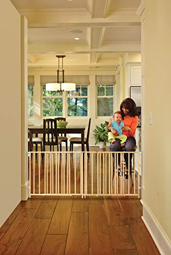 ''Extra-Wide Swing Gate'' by North States: Great for extra-wide openings, with no threshold and one-hand operation. Hardware mount. Fits openings 60'' to 103'' wide (27'' tall, Natural wood) by North States (Image #7)