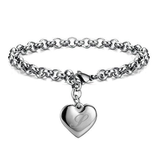 Monily Initial Charm Bracelets Stainless Steel Heart 26 Letters Alphabet Bracelet for Women ()