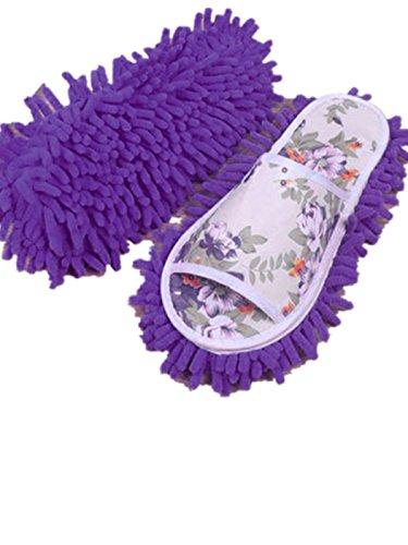 Sagton Vrouwen Stof Mop Slippers Sokken Microfiber Huis Slippers Slaapkamer Schoenen Paars