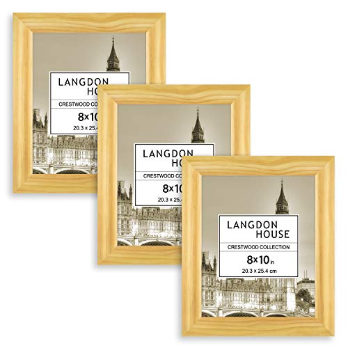 Langdons 8x10 Picture Frames, Solid Wood 8 x 10 Picture Frame, 8 by 10 Photo Frames with Wall Mount Hooks and Table Top Easel, Crestwood Collection (Golden Pine Stained, 3 Pack) ()