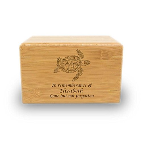 OneWorld Memorials Sea Turtle Bamboo Cremation Urn Box - Large - Holds Up to 200 Cubic Inches of Ashes - Brown Urns for Human Ashes - Custom Engraving ()
