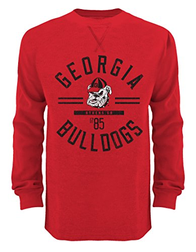 NCAA Georgia Bulldogs Men's Big Thermal Crew Shirts, 3X-Large, Red