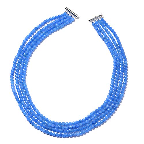 Blue Jade Multi Strand Necklace 925 Sterling Silver Jewelry for Women Size 18