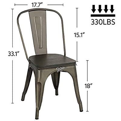 Yaheetech Metal Dining Chairs with Wood Seat/Top Stackable Side Chairs Kitchen Chairs with Back Indoor-Outdoor Classic/Chic/Industrial/Vintage Bistro Café Trattoria Kitchen Gun Metal?Set of 4