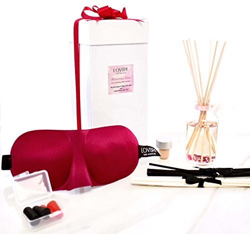 LOVSPA Moroccan Rose Reed Diffuser & Sleep Mask Gift | Moroccan Rose, Egyptian Jasmine, Blue Orchid, Lily of The Valley, Sandalwood & Amber | Beautifully Gift Wrapped! ()