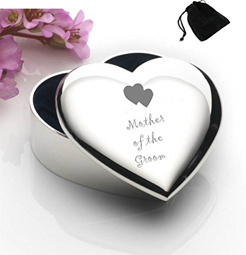 Silver Plated Heart Shaped Trinket Box With Mother of the Groom Hearts Design and Black Gift - Box Heart Keepsake Trinket