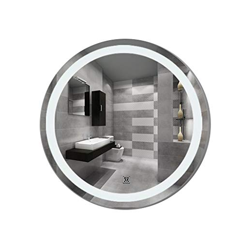 (Gtgle Bathroom Mirror with LED Lights,Nordic Style,Round Metal Frame Wall Mount Makeup Mirror,Smart Touch,Suitable for use in The Bathroom. (Size : 90cm))