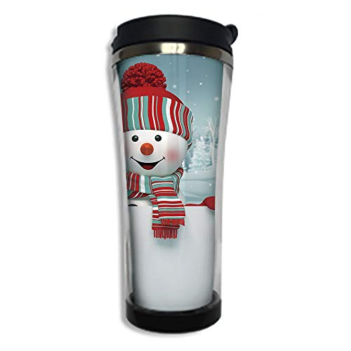 Travel Coffee Mug 3D Printed Portable Vacuum Cup,Insulated Tea Cup Water Bottle Tumblers for Drinking with Lid 14.2oz(420 ml)by,Snowman,Smiling 3D Style Mascot with Hat and Scarf Snowy Mountains Trees]()
