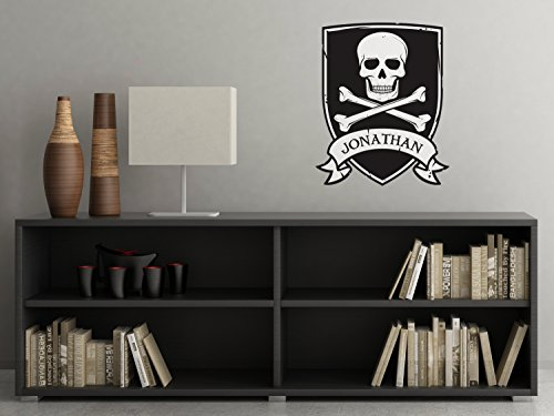 Personalized Pirate Fabric Wall Decal, Kids Pirate Room Decor Wall Decal, Skull and Crossbones Wall Art, Non-Toxic, Removable, Reusable, Respositionable