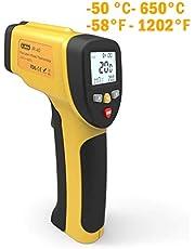 Dr.meter Termometro Laser Digitale Senza Contatto ad Infrarossi, Pistola per Temperatura da -50℃ a 550℃ per Cucina, Barbecue, Automotive, Lettura Accurata HD, Display LCD Retroilluminato