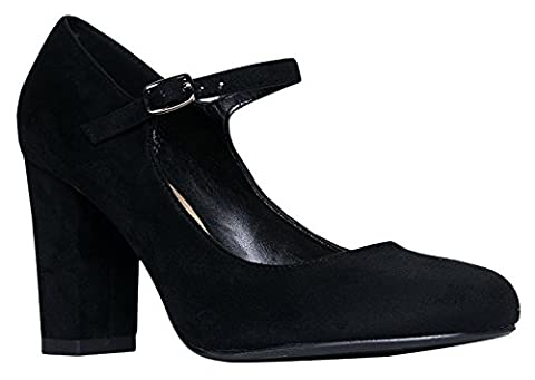 OLIVIA K Women's Block High Heel - Cute Round Toe - Classic Comfortable Easy Dress Shoe - Mary Jane - Mary Jane Shoe Block Heel