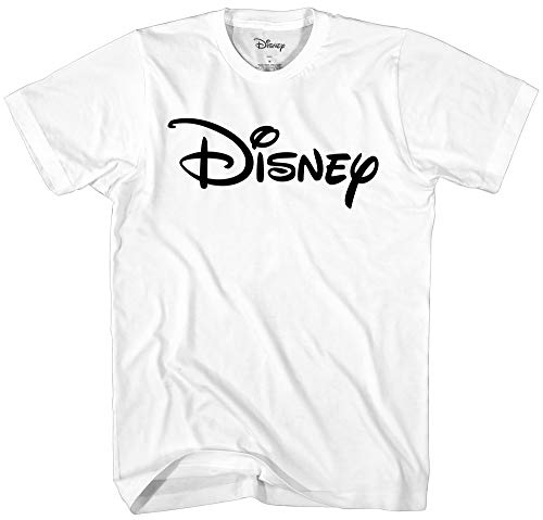 Disney Officially Licensed Black Logo Men's Adult Graphic Tee T-Shirt (White, Large)