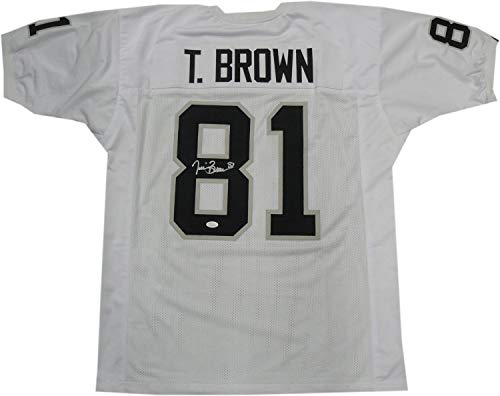 (Tim Brown Hand Signd Autographed Signed Oakland Raiders Jersey Hof - JSA Authentic Memorabilia Size XL)