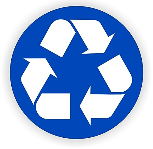 "1-Pc Good Popular Recycle Logo Vinyl Stickers Helmet Label Hard Hat Decals Work Recycling Size 2"" Color Blue and White"