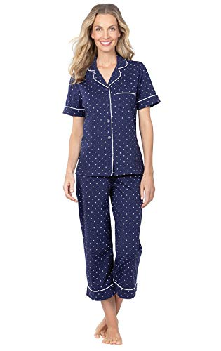 PajamaGram Capri Pajamas for Women - Cotton PJs Women, Polka Dot, Navy, M, 10-12