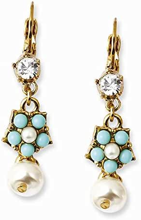 Gold-tone Glass Pearls & Teal Beads & Crystal Leverback Earrings