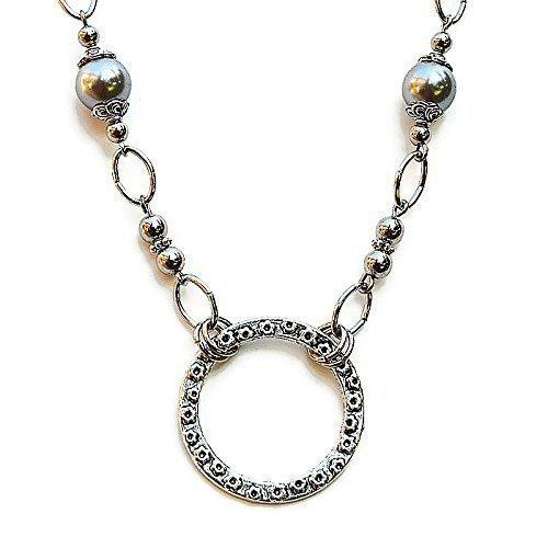 EYEGLASS NECKLACE Stainless Steel Chain Gray Glasses Holder Readers Eyewear Swirling Mist - Id Eyewear