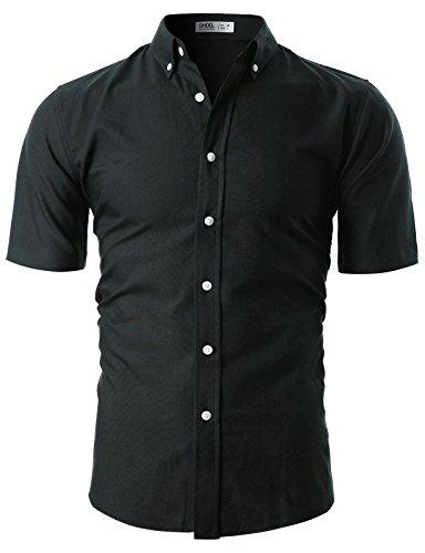 Ohoo Mens Slim Fit Short Sleeve Oxford Casual Button Down Shirt/DCC027-BLACK-2XL