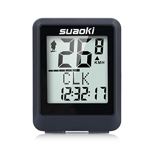 Suaoki Wireless Bike Computer Bicycle Speedometer Bike Odometer with LCD Backlight, 5 Language Displays, Auto Power On/Off Systems, Multi Function for Cycling by SUAOKI