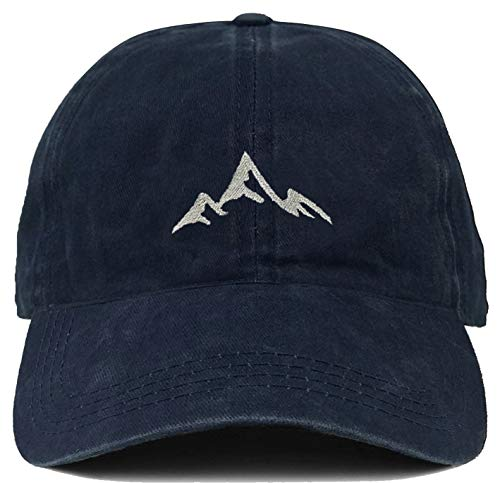 H-214-MOUNTAIN31 Dad Hat Unconstructed Washed Vintage Cap - Mountains (Navy) - Mountain Dog Hat