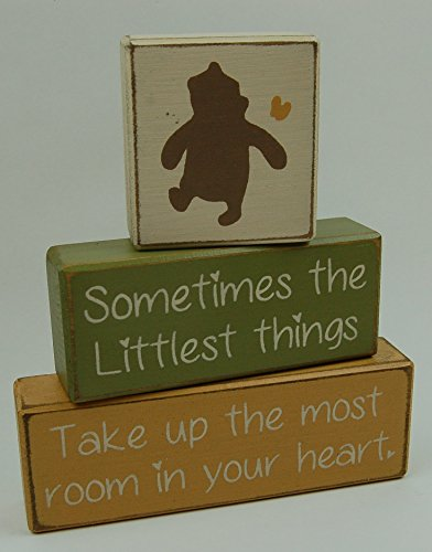 Winnie The Pooh Classic-Sometimes The Littlest Things Take Up The Most Room In Your Heart - Primitive Country Wood Stacking Sign Blocks Nursery Room Baby Shower Gift Home Decor