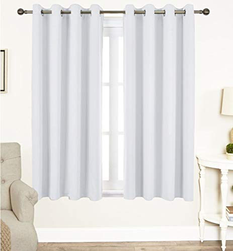 Tiny Break Curtains for Living Room and Bedroom, Made of 100% Natural Cotton, Eco friendly & Safe, White curtains 63 inch long, Window Curtains Set of 2 Panels, Room Darkening Curtains by