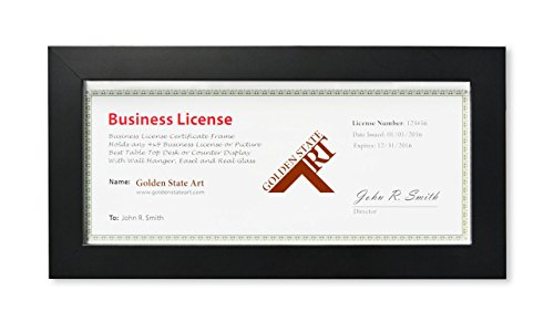 Golden State Art Wood Frame for 4x9 Business License Certificate with Real Glass & Table-top Display, Black (Business Picture Frames)