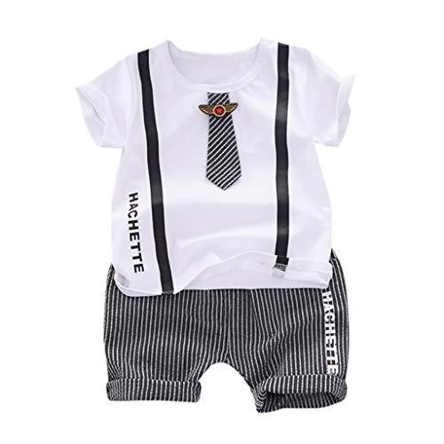 Lovygaga Summer Popular Gentleman Tie Striped Print Tops Tee Shirt+Classic Striped Pants Soft Cotton Outfit Set White